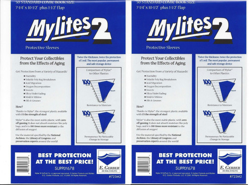 E.Gerber Mylites2 100 Pack - 2 mil Standard Size Comic Book Sleeves