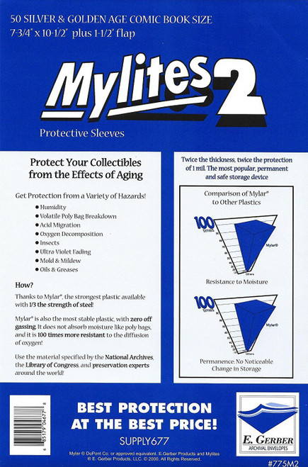 E.Gerber Mylites2 50 Pack Silver/Gold Size Comic Book Sleeves