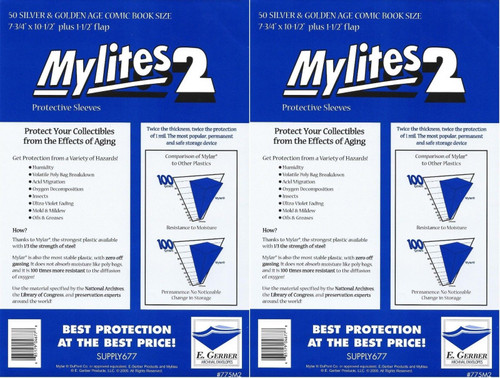 E.Gerber Mylites2 100 Pack Silver/Gold Size Comic Book Sleeves