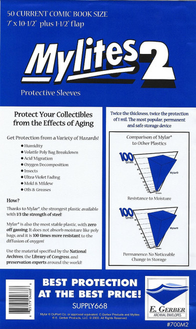 E.Gerber Mylites2 50 Pack Current Size Comic Book Sleeves