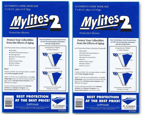 E.Gerber Mylites2 100 Pack Current Size Comic Book Sleeves