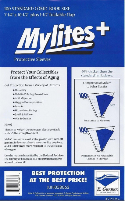 E.Gerber Mylites+ 100 Pack Standard Size Comic Book Sleeves