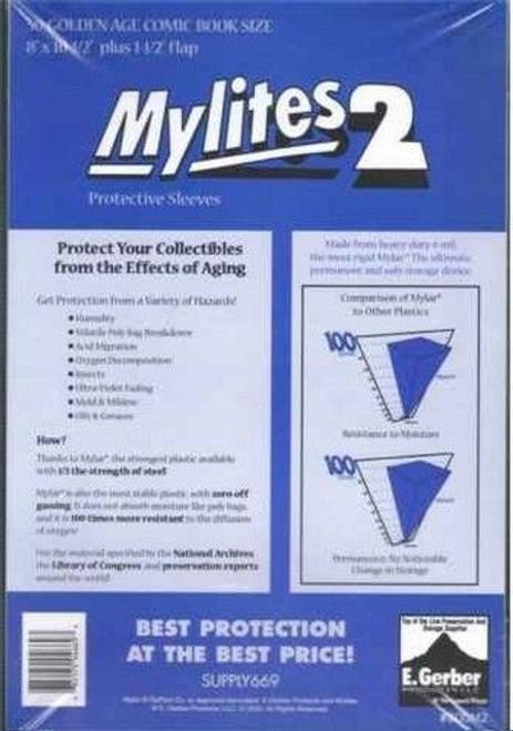 """E.Gerber Mylites2 50 Pack - 2 mil Golden 8"""" x 10 1/2"""""""