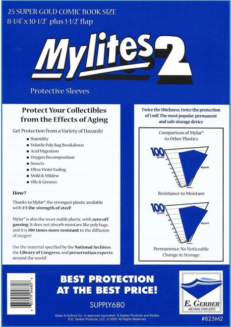 """E.Gerber Mylites2 25 Pack 2 mil Super Golden 8-1/4"""" X 10-1/2"""""""