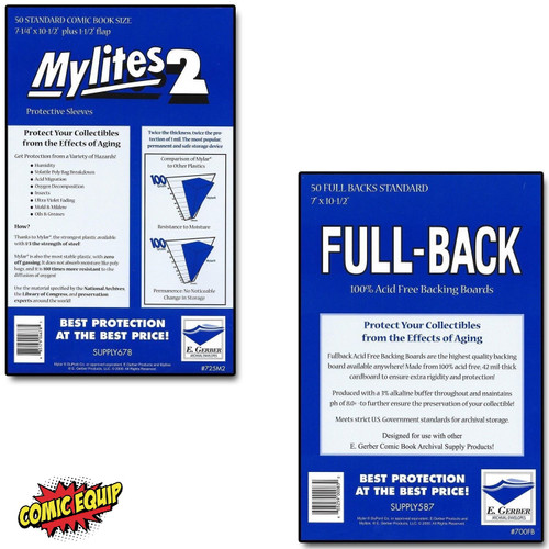 50 - MYLITES 2 STANDARD sleeves & 50 - FULL-BACK STANDARD Boards