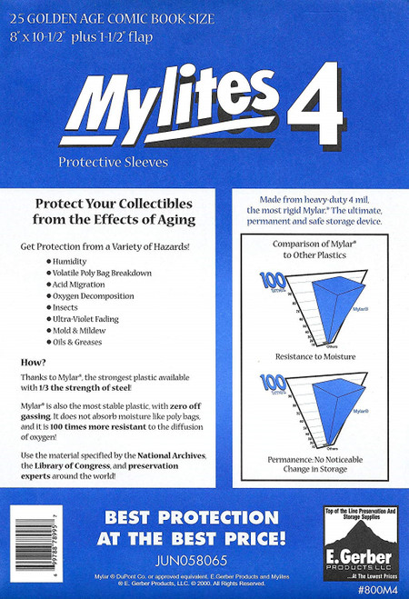 E.Gerber Mylites4 25 Pack 4 mil Golden Age Size Comic Book Sleeves