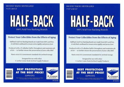100 Gerber 700HB Half-Back Standard 24pt Comic Book Backing Boards by E