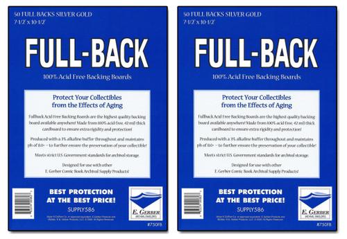 100 E. Gerber Full Back SILVER/ GOLD 42pt Acid Free Comic Backing Boards