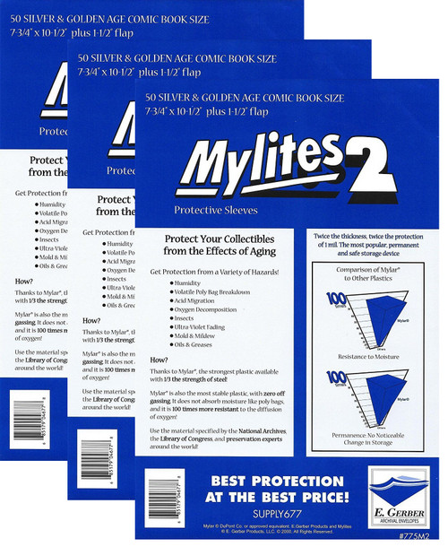 E.Gerber Mylites2 150 Pack 2 mil Silver/Gold Size Comic Book Sleeves