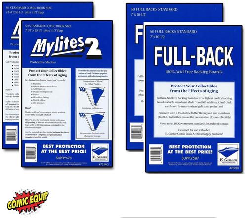 100 - MYLITES 2 STANDARD sleeves & 100 - FULL-BACK STANDARD Boards