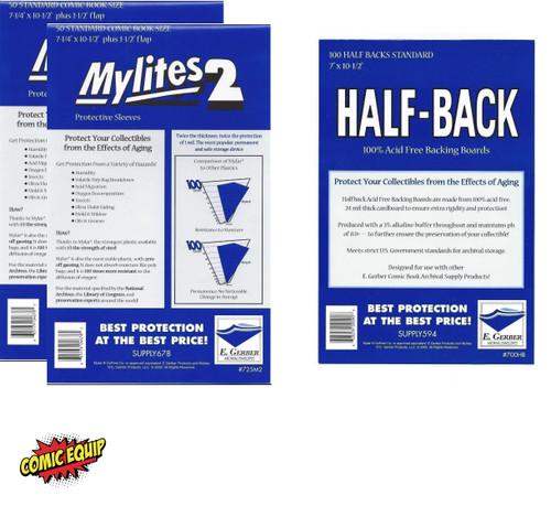 100 E. Gerber Mylites2 STANDARD Mylars Bags & Half Back Comic Boards