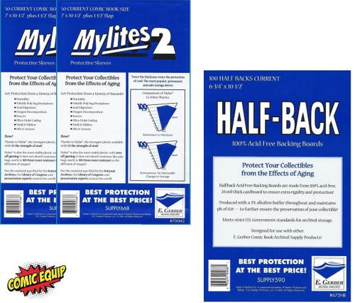 100 Mylites2 CURRENT Mylars Bags & 100 Half Back Comic Boards 700M2/675HB