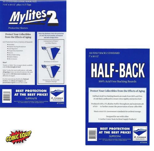 50 Mylites2 STANDARD Mylars Bags & 50 Half Back Boards 725M2/700HB E. Gerber