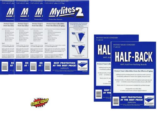 E. Gerber 200 Mylites2 STANDARD Mylars  & 200 Half Back Comic Boards