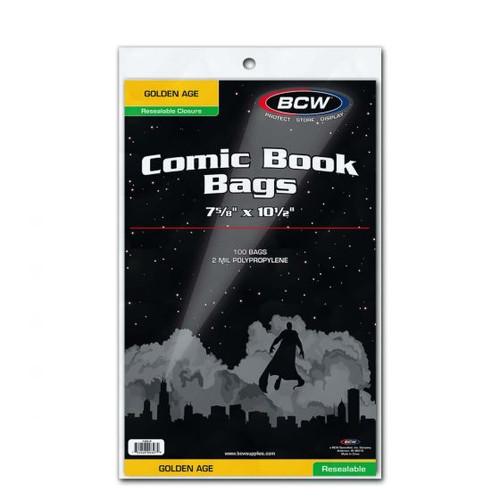 BCW 100 Resealable Golden Comic Bags