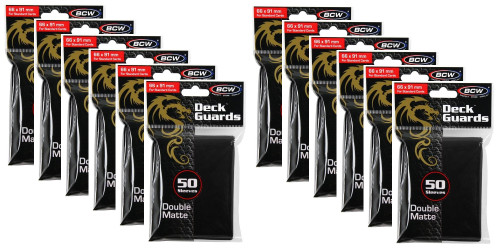 600 BCW Deck Guard card Sleeves Double Matte Black
