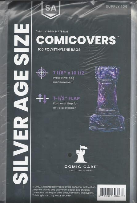 Comic Care Silver Comic Polyethylene Bags