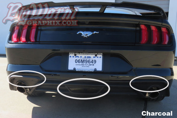 2018-21 Mustang Smoked Rear Reflectors, Reverse & 3rd Brake Light Overlays