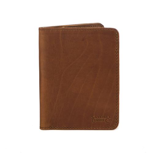 Slim Leather Passport Wallet - Tobacco