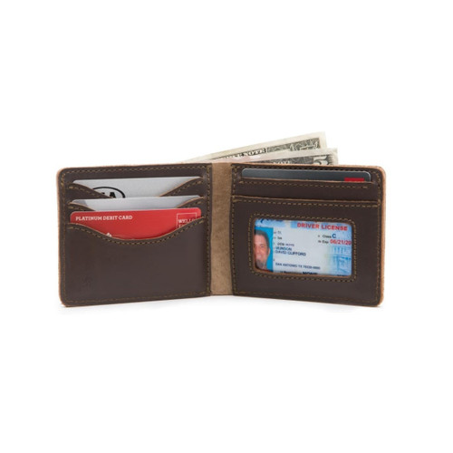 Medium Bifold Leather Wallet - Dark Coffee Brown