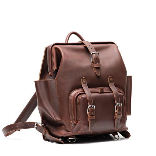 Big Mouth Leather Backpack - Chestnut