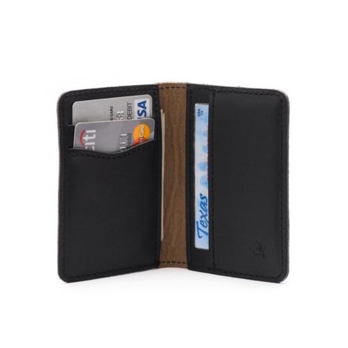 Slim Bifold Leather Wallet - Black