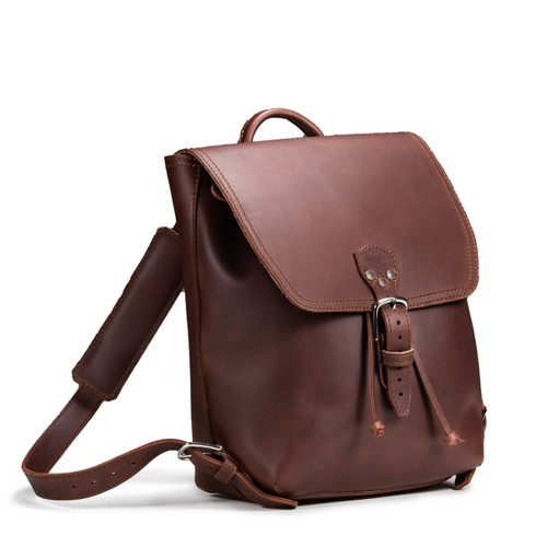 Drawstring Leather Backpack - Chestnut