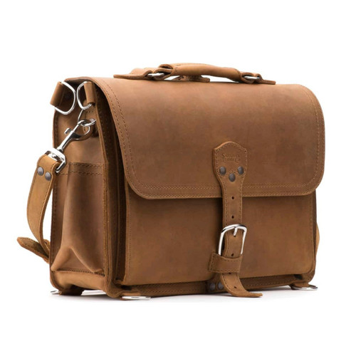 Slim Leather Briefcase - Tobacco