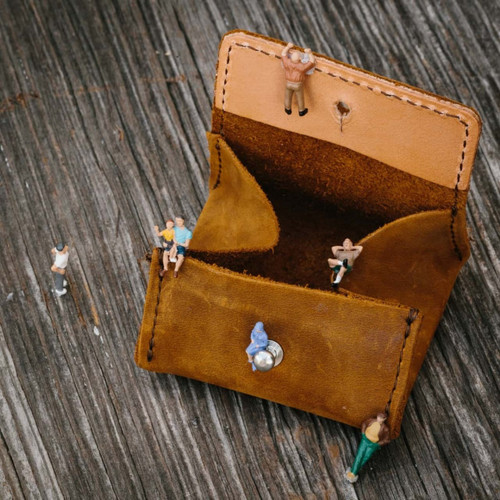 Pocket Leather Coin Purse - Tobacco