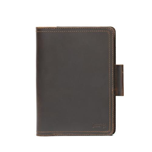 Large Leather Moleskine Cover - Dark Coffee Brown