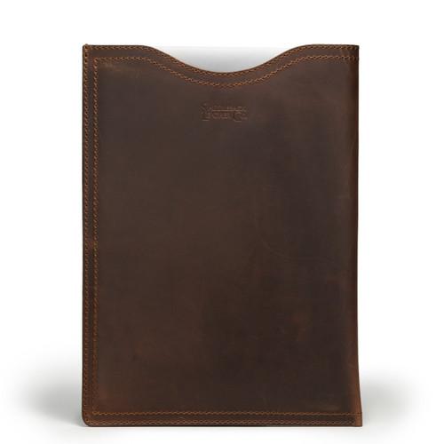 """15"""" Leather Vertical Laptop Sleeve - Medium - Dark Coffee Brown"""