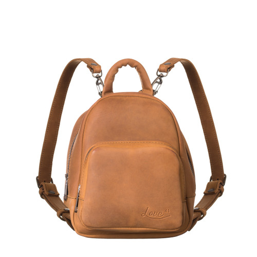 This is the front view of the mini mini leather backpack in light tan