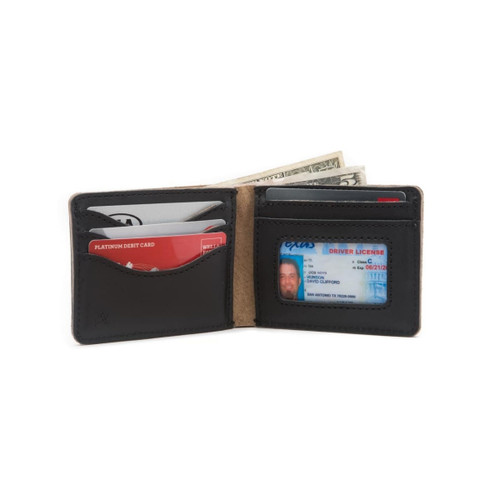 Medium Bifold Leather Wallet - Black