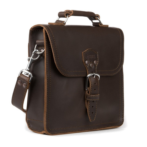 Indiana Leather Satchel - Dark Coffee Brown