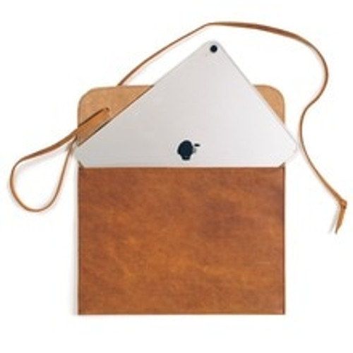 Soft Leather Laptop and iPad Case - Dark Coffee Brown