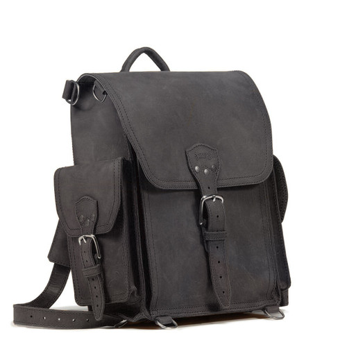 Squared Leather Backpack a.k.a. The Tank - Carbon