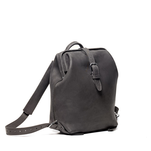 Little Big Mouth Leather Backpack - Carbon