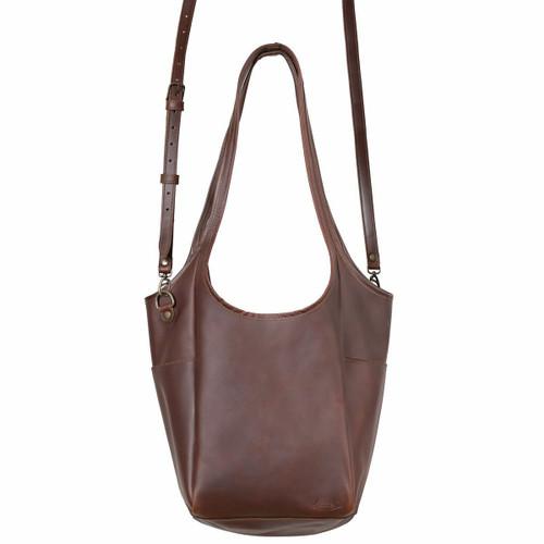 Suzette's Steals Hobo Shoulder Leather Tote-Chestnut-Final Sale