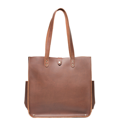 Suzette's Steals Woman's Leather Tote-Chestnut