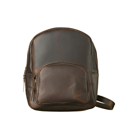 This is the view of the Sling Leather Backpack in dark brown
