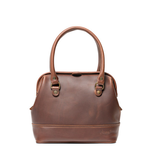 This is the front view of the reddish brown colored leather satchel gladstone bag without crossbody strap