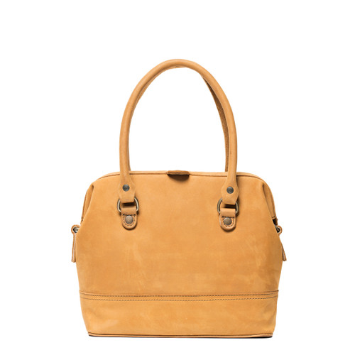 Suzette's Steals Small Gladstone Leather Satchel-Tobacco