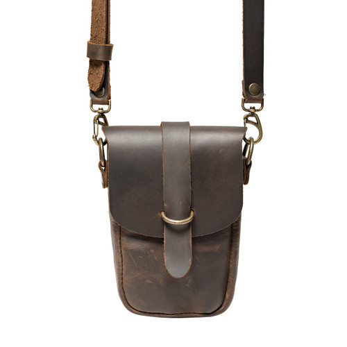 This is the front view of the Dark Coffee  Crossbody Leather Koroha Pouch