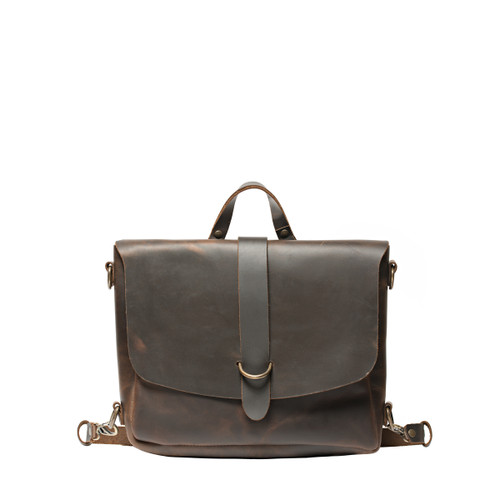 Suzette's Koroha Messenger Leather Backpack-Dark Coffee