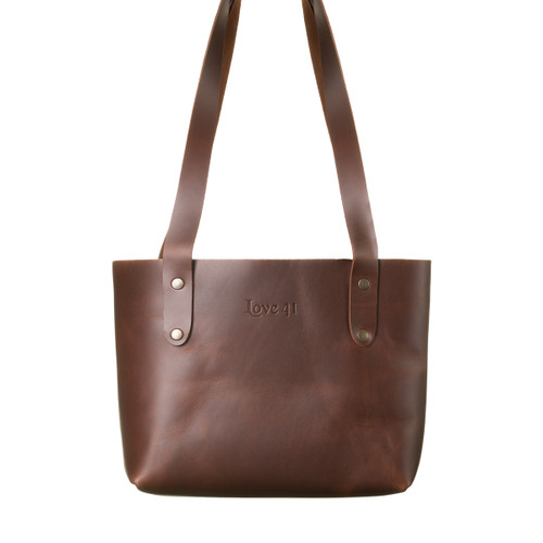 Suzette's Steals Small Simple Leather Tote-Chestnut