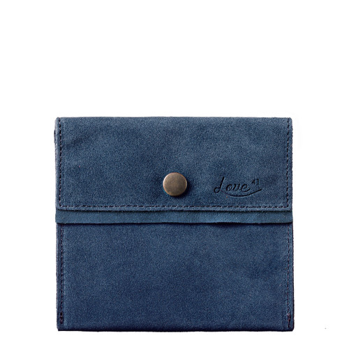 This is the front view of the Simple suede Pouch in dark blue
