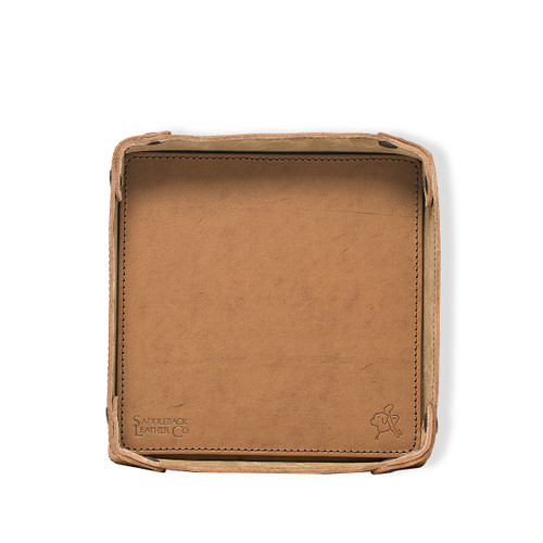 Firm Leather Catchall Valet Tray - Veg Tan Leather