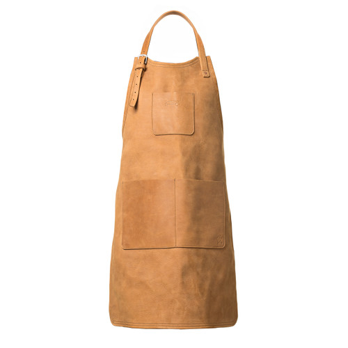 This is the front view of the Simple Leather Apron in brown.