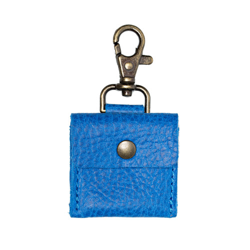 This is the front view of the Leather AirTag Holder Mini Pouch Blue