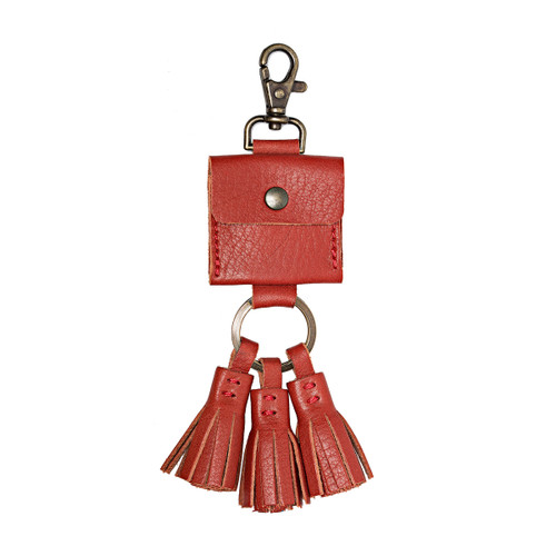 This is the front view of the leather AirTag Holder Tassel in Red